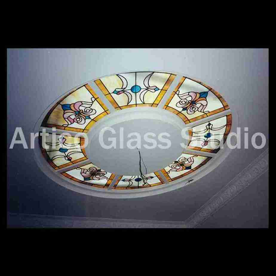 stained glass ceiling light malaysia 8 panels fluorescent classic design