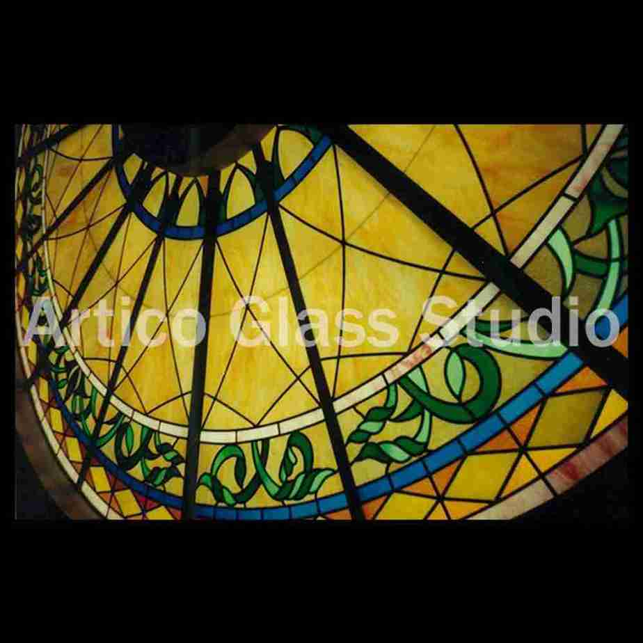 close up of round stained glass skylight by Artico Glass Studio Malaysia