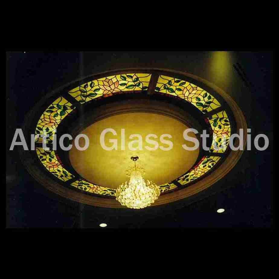 stained glass ceiling light gold with 8 sections