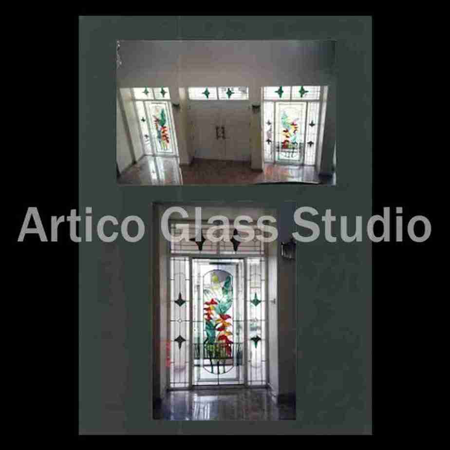 stained glass entrance door tropical malaysia