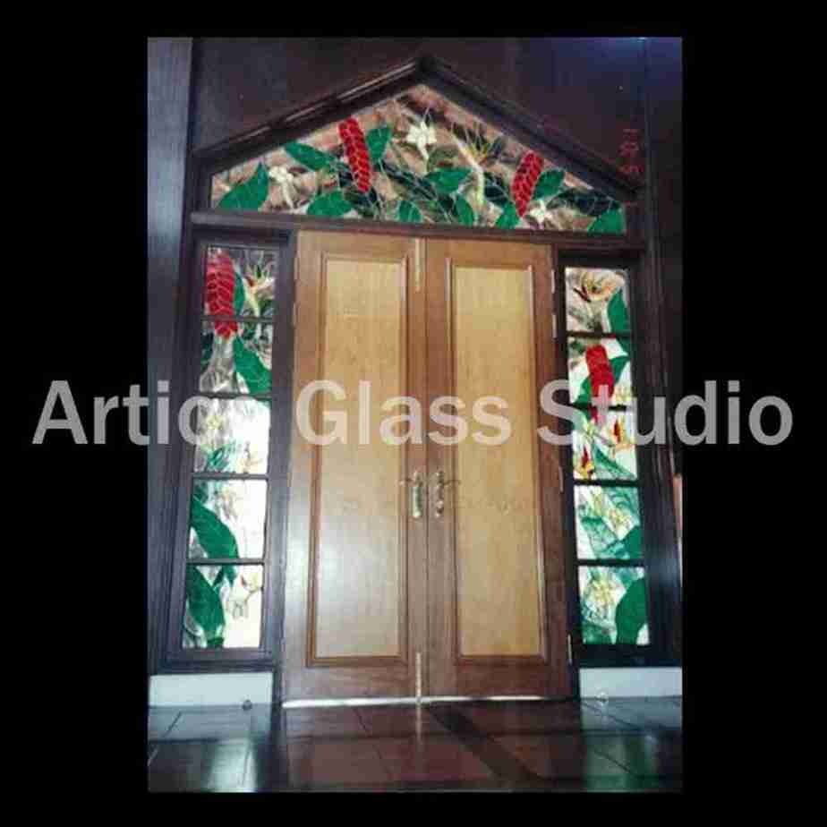 stained glass door transom heliconia flower malaysia