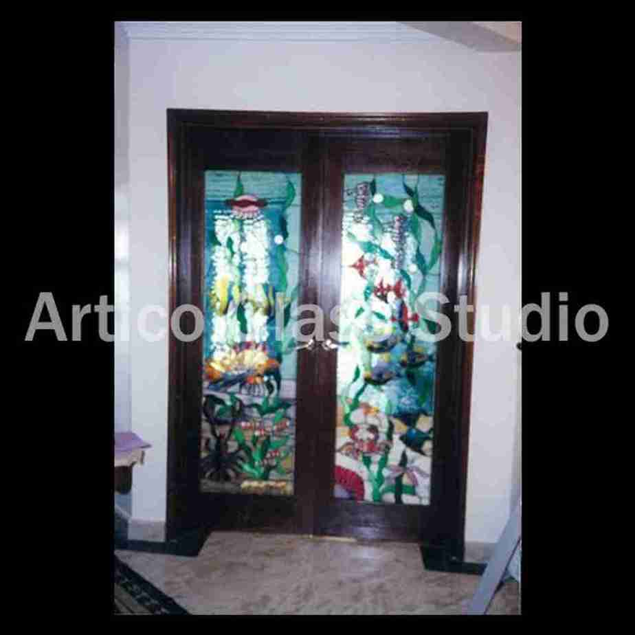stained glass door malaysia fish sea ocean