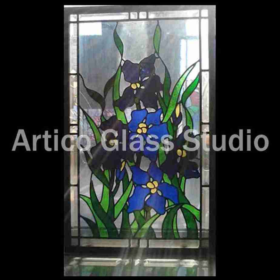 stained glass art iris flower panel malaysia