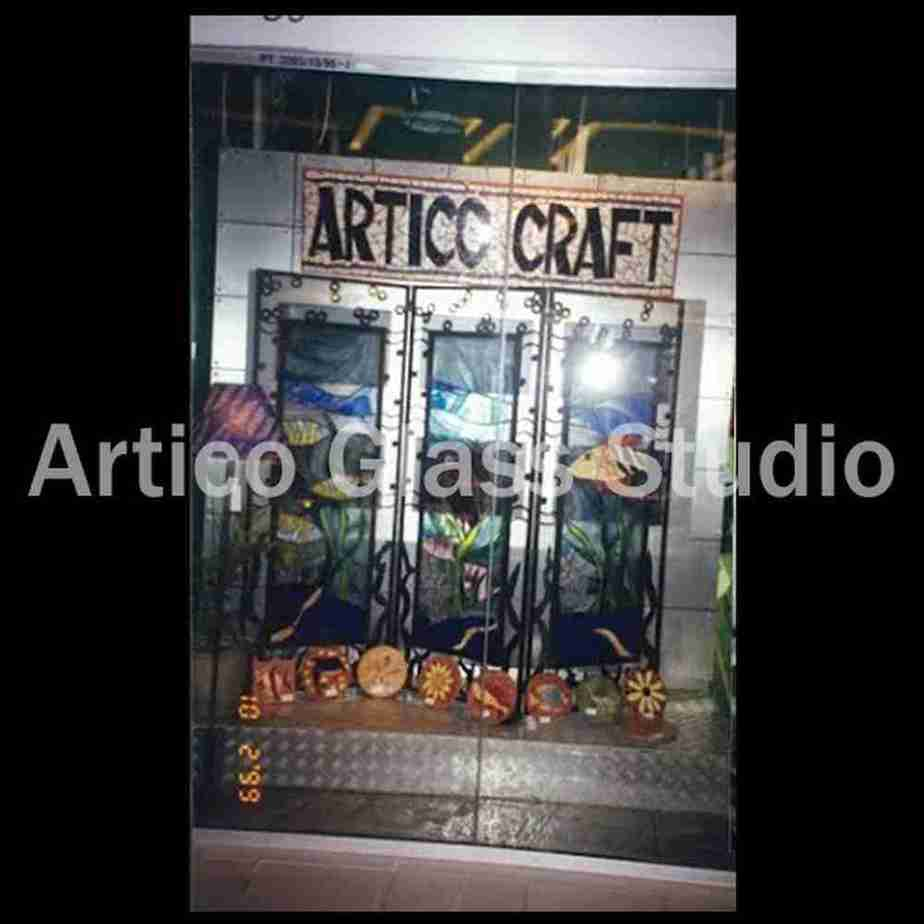 stained glass partition showroom artico glass studio malaysia