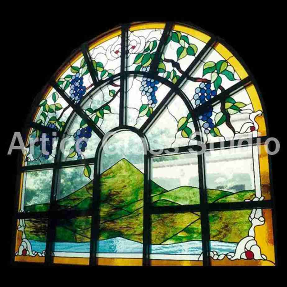 stained glass mountain grape vine malaysia window