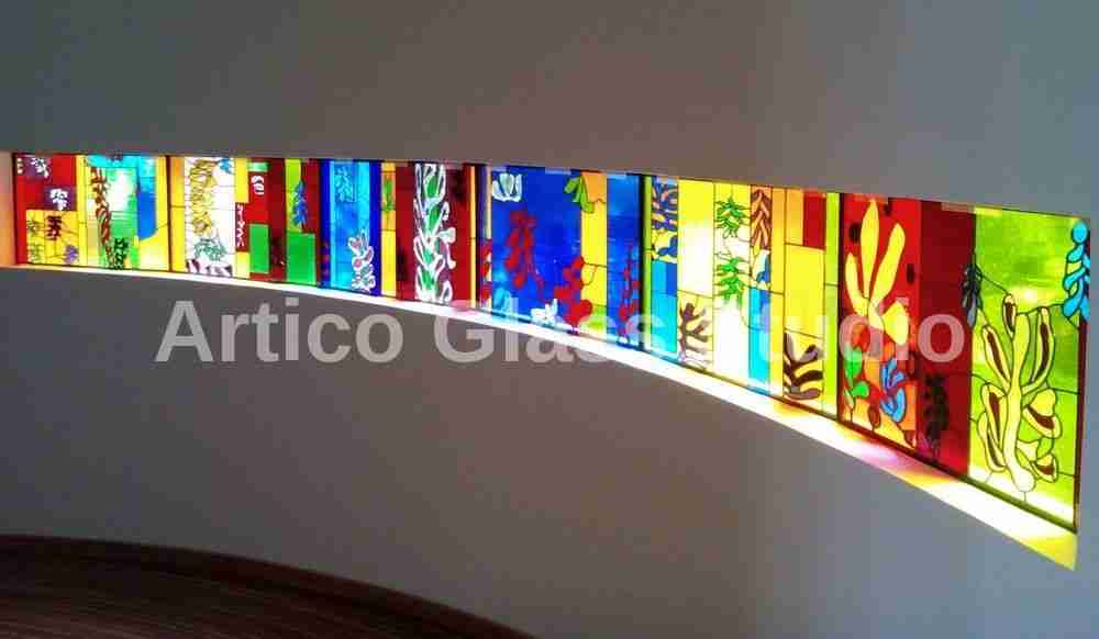 stained glass art malaysia 6 panel curved window henri matisse
