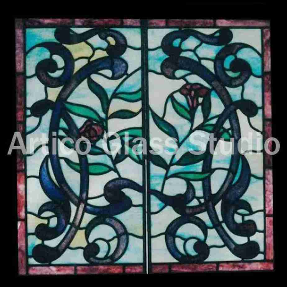 stained glass art malaysia opaque flowers vines