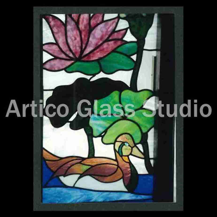 uroboros stained glass art duck lilypad lotus plant malaysia