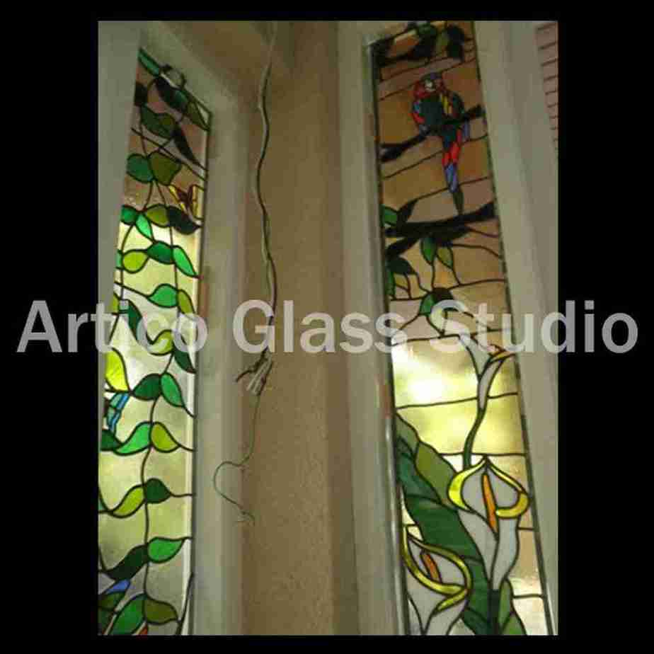 stained glass art sidelites parrot flower vine malaysia