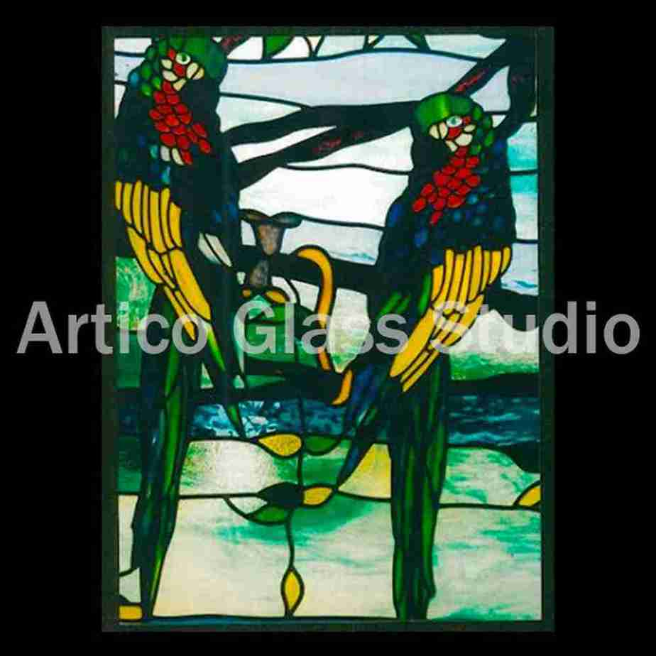 stained glass parrots malaysia artico glass studio