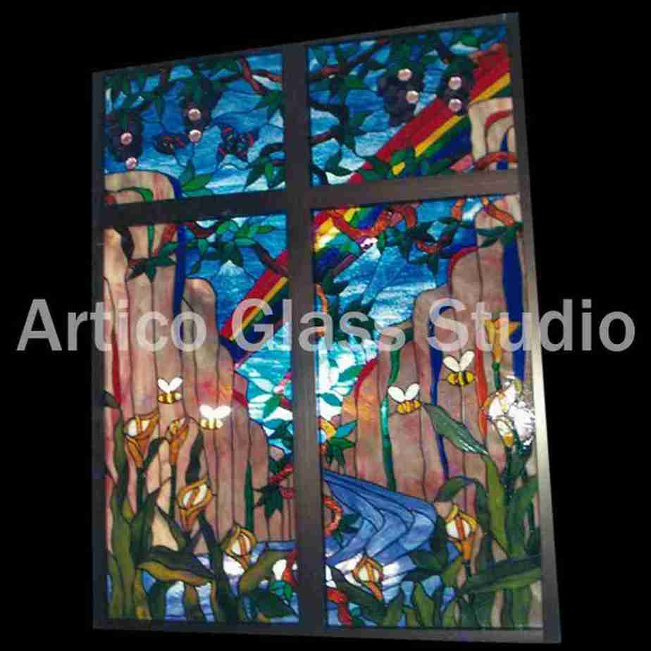 stained glass rainbow flowers bees river nature window malaysia