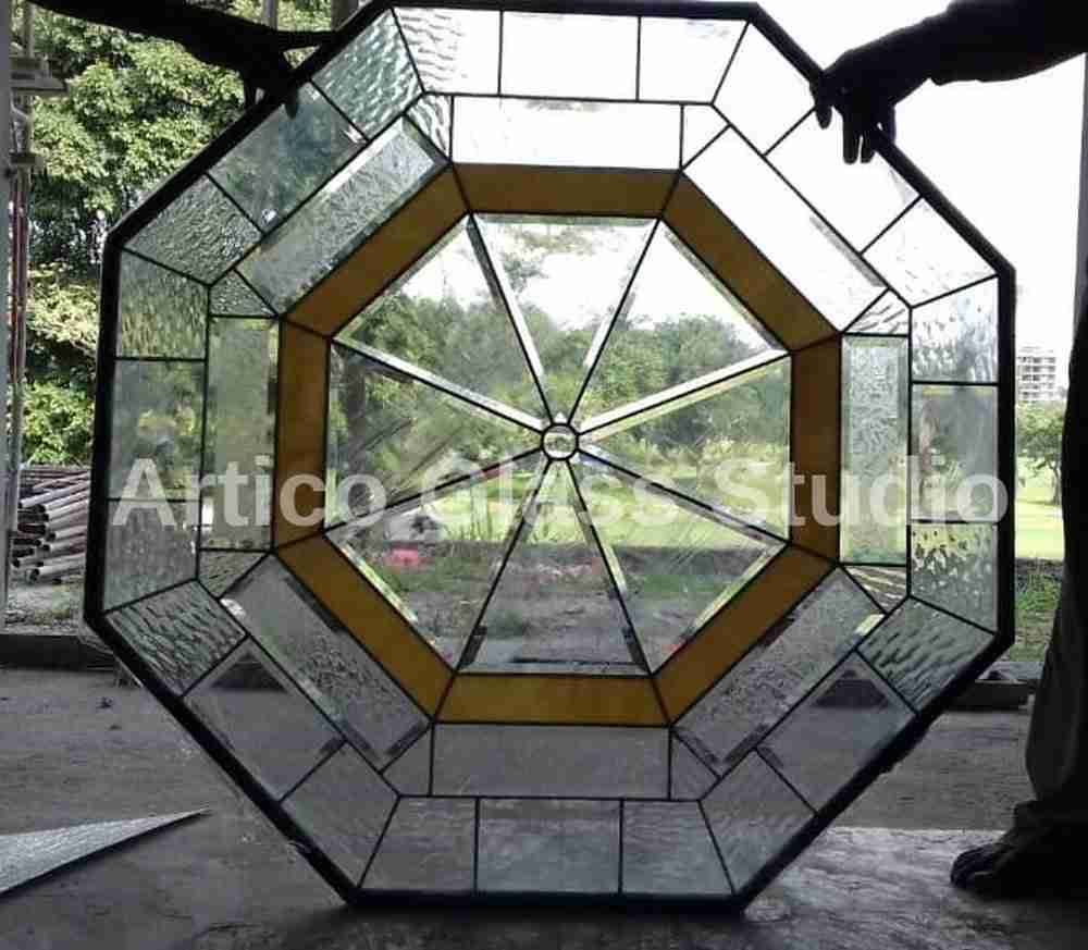 bevel and textured glass octagonal window