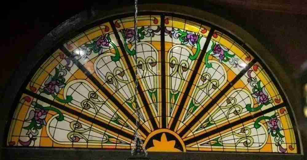 stained glass door transom window