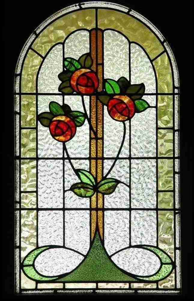 stained glass floral textured glass window